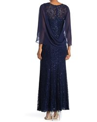 Ignite V-neck Sequin Lace Gown - Blue