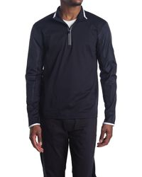 Michael Kors Mixed Media Half Zip Sweater - Blue