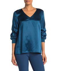 Lafayette 148 New York Leland Gathered-sleeve Silk Blouse Empress Teal - Blue