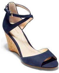 Cole Haan Sadie Grand Open Toe Wedge Sandal - Blue