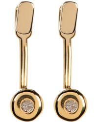 Kenneth Cole - 14k Gold Plated Diamond Detail Earrings - 0.06 Ctw - Lyst