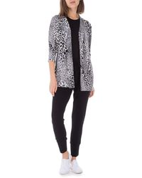 Bobeau Leopard Knit Cardigan - Multicolor