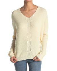 Lush Solid V-neck Sweater - White