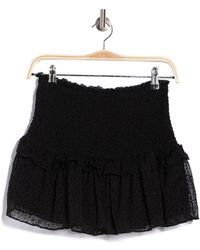 Mustard Seed Smocked Burnout Tiered Skirt - Black