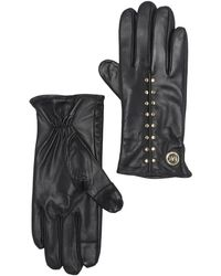 Michael Kors Astor Stud Leather Gloves - Black