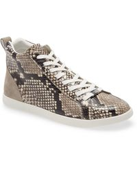 PAIGE Annie Snake Embossed Mid Top Sneaker - White