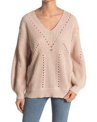 Lush Open Stitch V-neck Sweater - Multicolor