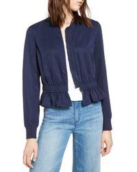 Halogen - Ruffle Hem Zip Front Jacket (regular & Petite) - Lyst