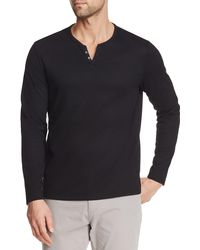 Con.struct Solid Waffle Texture Long Sleeve Henley Shirt - Black