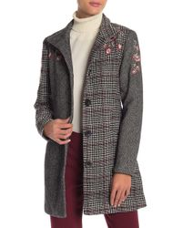 Desigual Long Sleeves Botton Down Embroidered Coat - Multicolor