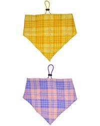 Berry Plaid Bandana Headband - Yellow