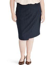Rachel Roy Checkered Mini Skirt (plus Size) - Blue