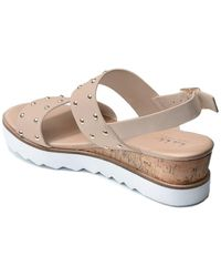 Nicole Miller Cameo Studded White Sole Wedge Sandal - Multicolour