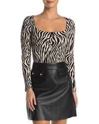 Lush Square Neck Zebra Stripe Print Bodysuit - Black