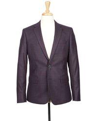 Boga - Navy & Crimson Red Check Notch Lapel Modern Fit Wool Blazer - Lyst