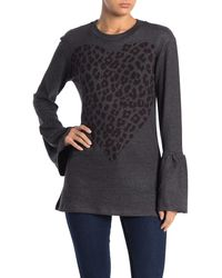 Go Couture Bell Sleeve Basic Hacci Sweater - Gray