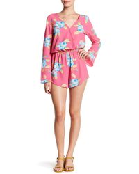 Mimi Chica - Bell Sleeve Floral Romper - Lyst