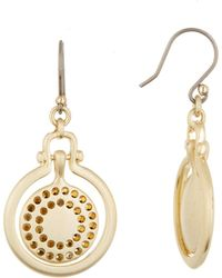 Lucky Brand - Brushed Pave Orbital Drop Earrings - Lyst
