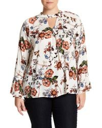 77f4e8d5259 Lyst - Blu Pepper Long Sleeve Printed Lace Detail Blouse (plus Size)