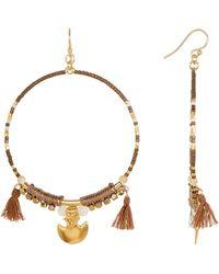 Chan Luu | Beaded Tassel Hoop Earrings | Lyst