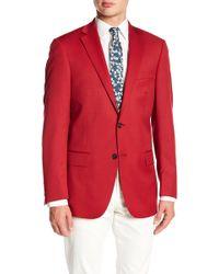 Hart Schaffner Marx - Red Sharkskin Notch Collar Wool New York Fit Blazer - Lyst