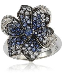 Suzy Levian Sterling Silver Blue Sapphire, Created White Sapphire & Brown Diamond Flower Ring