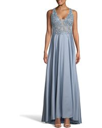 Xscape Embroidered Satin A-line Gown - Blue