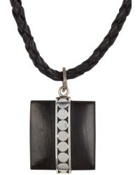 Link Up Dot Hammer Square Sterling Silver Pendant Necklace - Metallic