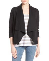 Caslon - Knit Drape Front Jacket (regular & Petite) - Lyst