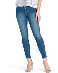 Sam Edelman The Stiletto Raw Hem High Waist Ankle Skinny Jeans - Blue