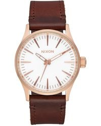 Nixon Sentry Leather Strap Watch - Brown