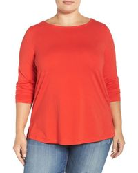 Sejour Ballet Neck Long Sleeve Tee (plus Size) - Red