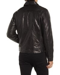 FRAME Classic Fit Leather Trucker Jacket - Black