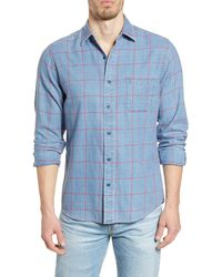 Faherty Brand Slim Fit Check Button-up Shirt - Blue