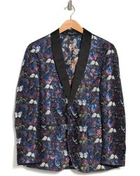 Paisley and Gray Regent One-button Shawl Collar Brocade Tux Jacket - Blue