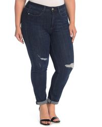 Seven7 Tummyless Rolled Slim Straight Jeans - Blue