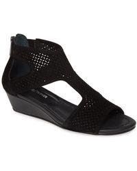 Donald J Pliner Ellia Suede Wedge Sandal - Black