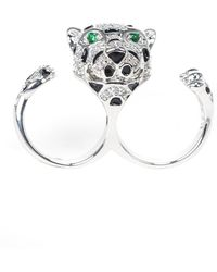 Kenneth Jay Lane - Round Cz Double Finger Leopard Ring - Lyst