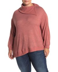 Democracy Asymmetrical Split Neck Knit Sweater - Pink