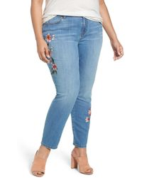 Caslon - Embroidered Skinny Jeans (plus Size) - Lyst