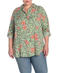 Velvet Heart Elisa Floral Leopard Print Roll Sleeve Shirt - Green