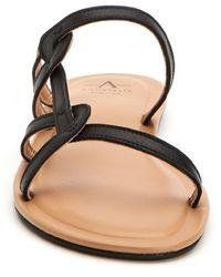 Aquatalia April Leather Strappy Sandal - Black