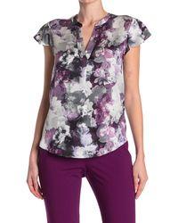Calvin Klein Floral Flutter Sleeve Blouse - Purple