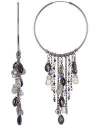 Chan Luu Sterling Silver Semiprecious Fringe Hoop Earrings - Metallic