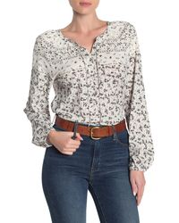 Lucky Brand Floral Bishop Sleeve Blouse - Multicolor