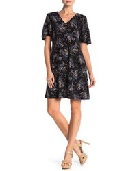 Cece by Cynthia Steffe - Floral Smocked Sleeve Shift Dress - Lyst
