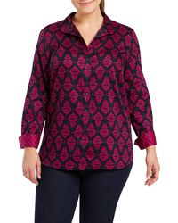 Foxcroft Annie Damask Shirt - Purple