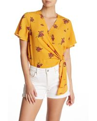 Lush Tie Front Short Sleeve Bodysuit - Yellow