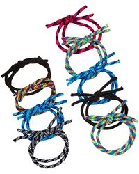 Berry - Twisted Double Layer Hair Tie - Set Of 9 - Lyst