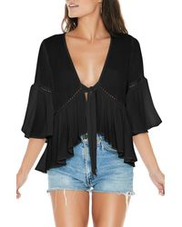 L*Space Lilly Floral Tie Front Cover-up Top - Black